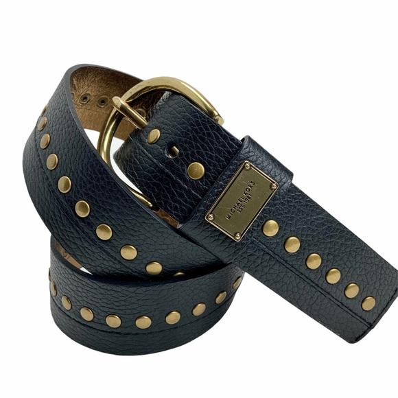 MICHAEL KORS Black Leather Studded Belt. Sz Lg.